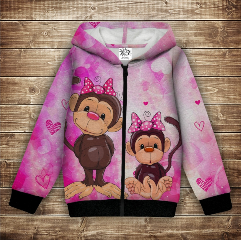 Худи с 3Д принтом на тему - Веселые обезьянки Розовый Детские и взрослые размеры