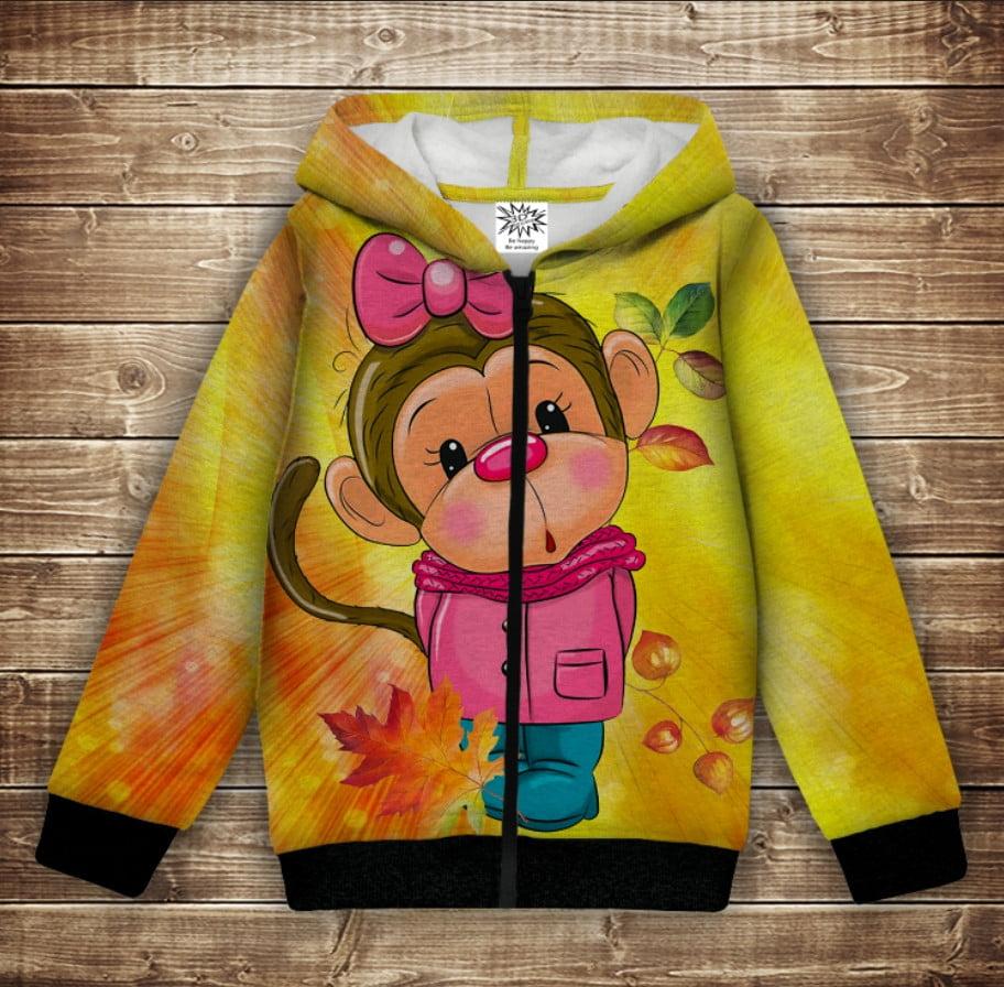 Худи с 3Д принтом на тему - Веселые обезьянки Жёлтый Детские и взрослые размеры