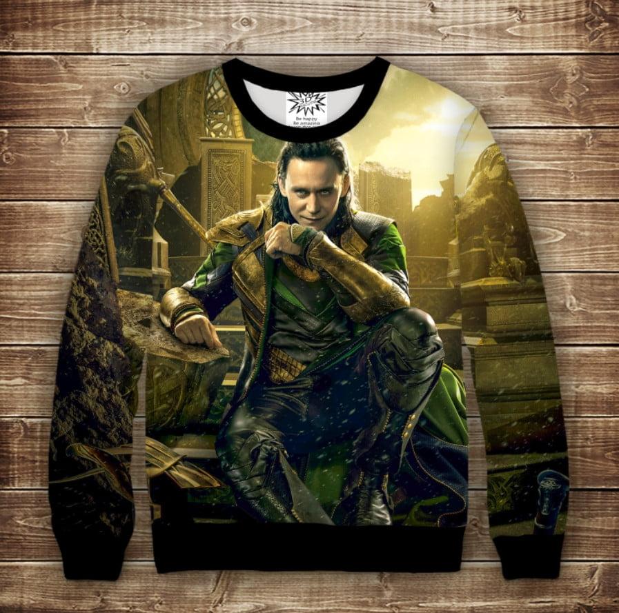 Свитшот с 3D принтом на тему: Локи. Loki. Взрослые и детские размеры