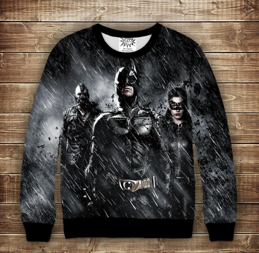 Свитшот с 3D принтом на тему: Бэтмен ин найт. Batman in the night. Взрослые и детские размеры