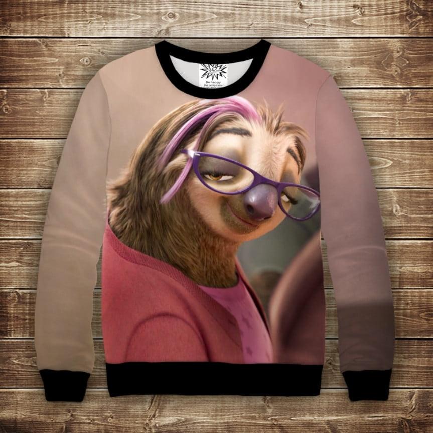 Свитшот 3D Девушка-Ленивец Зоотопия