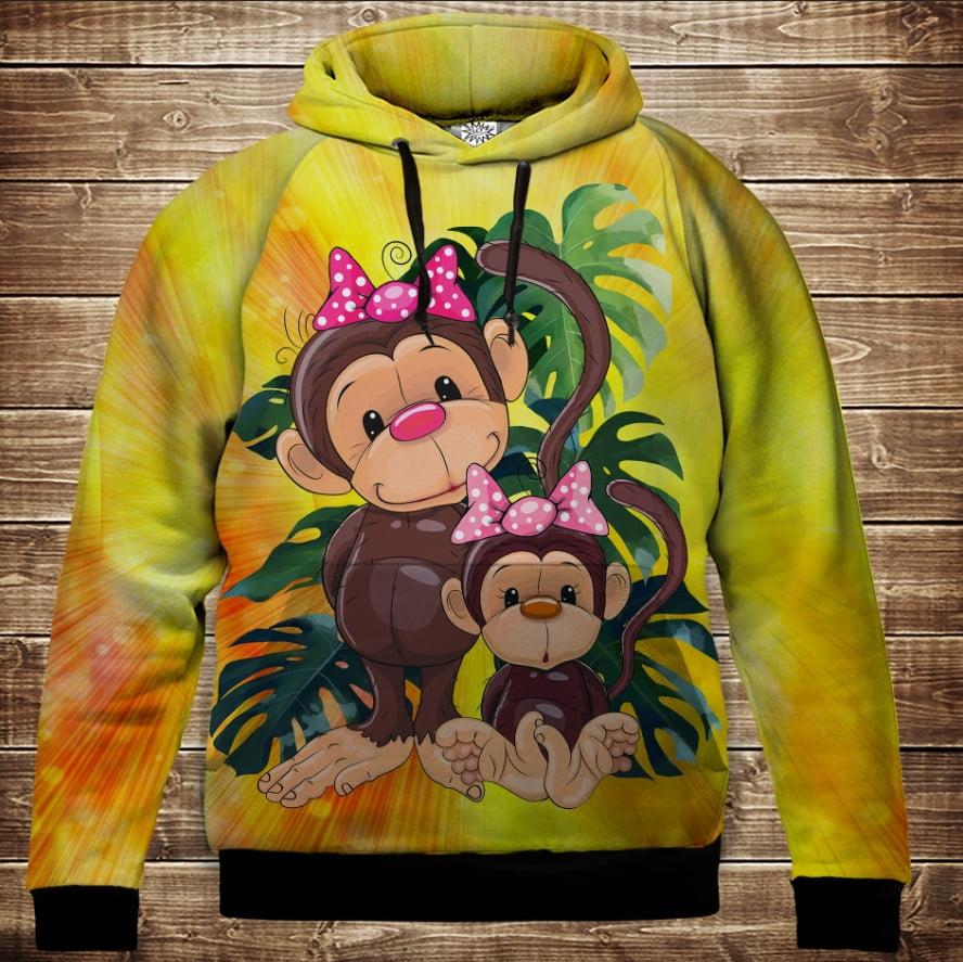 Толстовка с 3D принтом на тему: Веселые обезьянки Жёлтый 1. Детские и взрослые размеры