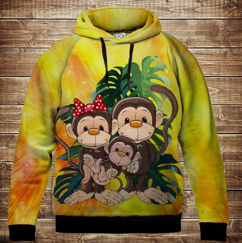 Толстовка с 3D принтом на тему: Веселые обезьянки Жёлтый 2. Детские и взрослые размеры