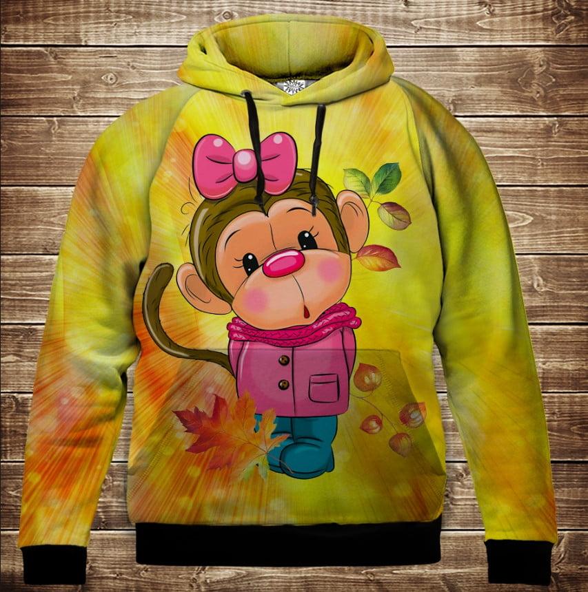 Толстовка с 3D принтом на тему: Веселые обезьянки Жёлтый. Детские и взрослые размеры