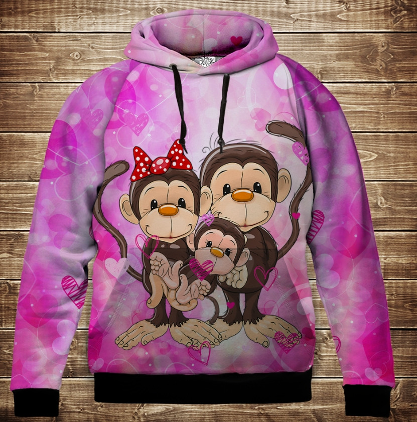 Толстовка с 3D принтом на тему: Веселые обезьянки Розовый 1. Детские и взрослые размеры