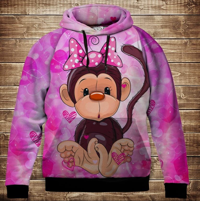 Толстовка с 3D принтом на тему: Веселые обезьянки Розовый. Детские и взрослые размеры