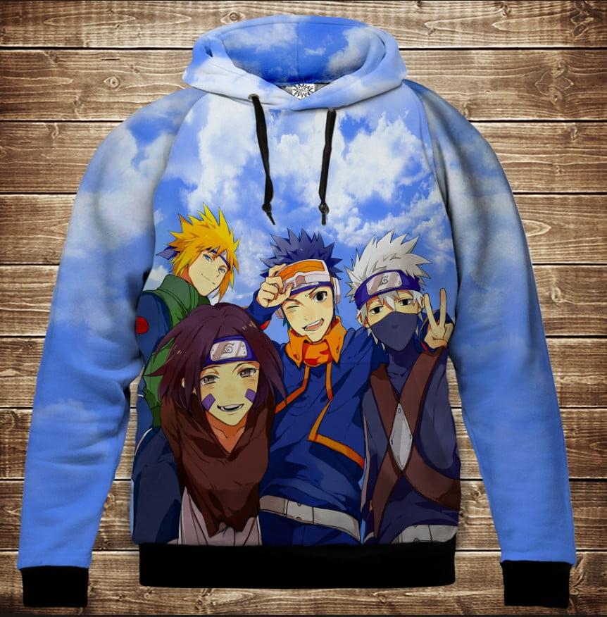 Толстовка с 3D принтом на тему: Наруто команда. Naruto team. Детские и взрослые размеры