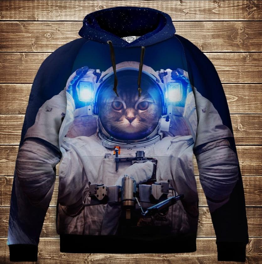 Толстовка с 3D принтом на тему: Кот в скафандре. Кот Космонавт. Детские и взрослые размеры