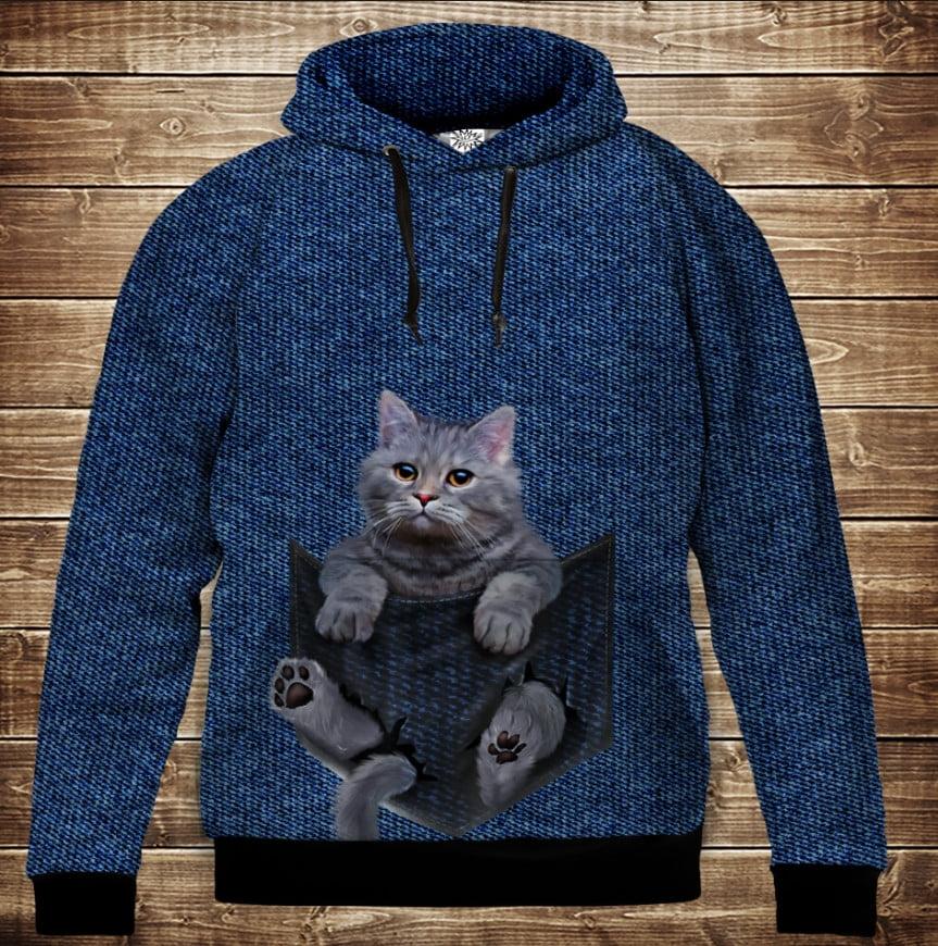 Толстовка с 3D принтом на тему: Котенок в кармане. Детские и взрослые размеры