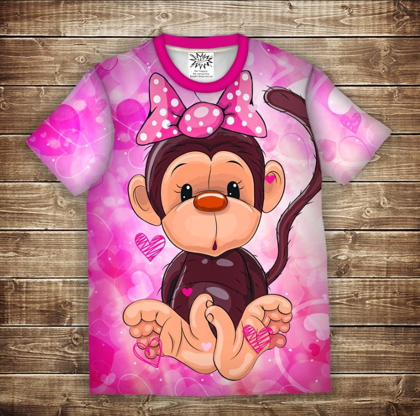 Футболка с 3D принтом на тему: Веселые обезьянки Розовый. Детские и взрослые размеры