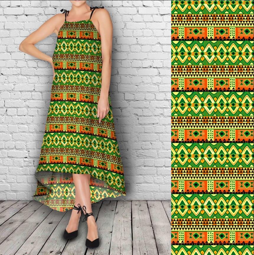 Сарафан ассиметричный нарядный  с принтом Africano Green neon
