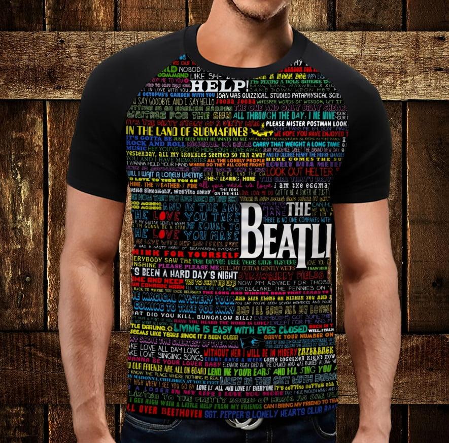 Футболка реглан с 3D принтом: The Beatles all songs. Битлы все песни. Взрослые и детские размеры