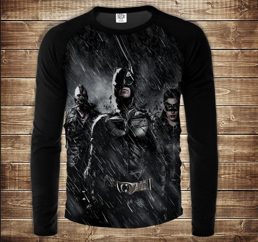Лонгслив-реглан с 3D принтом: Бэтмен ин найт. Batman in the night. Взрослые и детские размеры