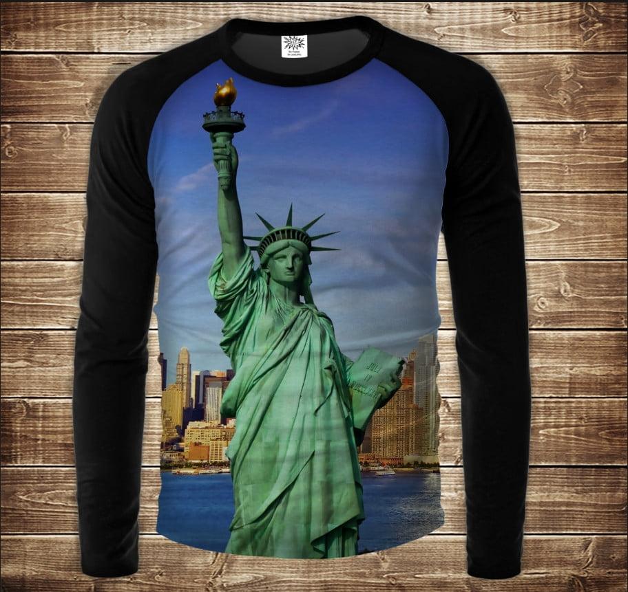 Лонгслив-реглан с 3D принтом: Статуя Свободы. Statue of Liberty. Взрослые и детские размеры