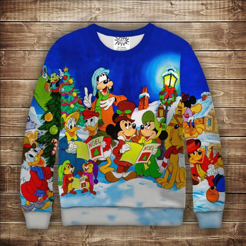 Свитшот 3D Герои Дисней и Рождественские гимны Взрослые и детские размеры