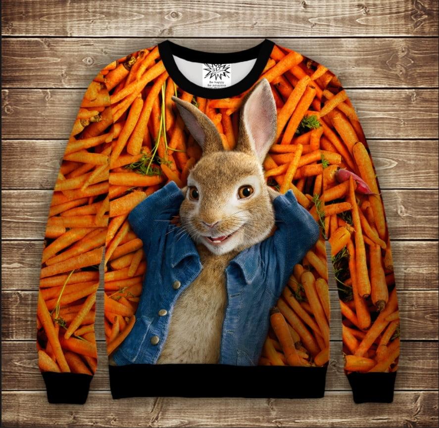 Свитшот 3D Кролик Петрик Морковный рай