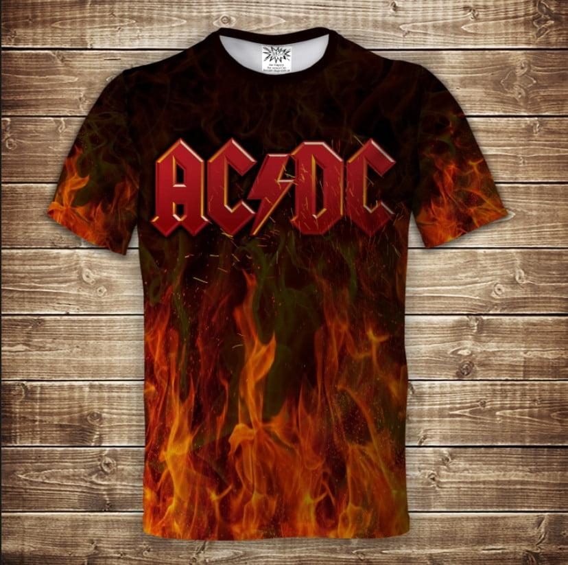 Футболка 3D AC / DC огонь