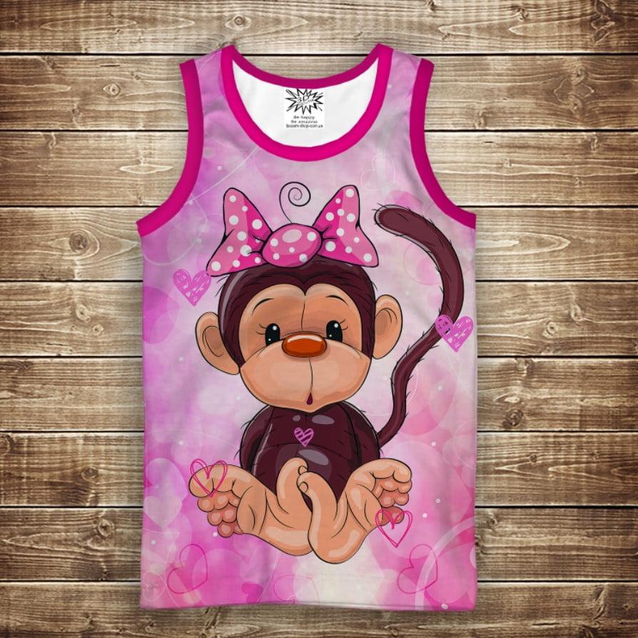 Майка с 3D принтом: Веселые обезьянки Розовый. Взрослые и детские размеры