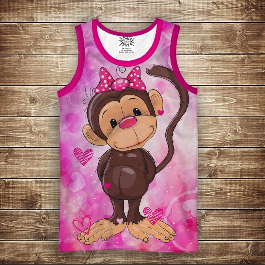 Майка с 3D принтом: Веселые обезьянки Розовый 2. Взрослые и детские размеры