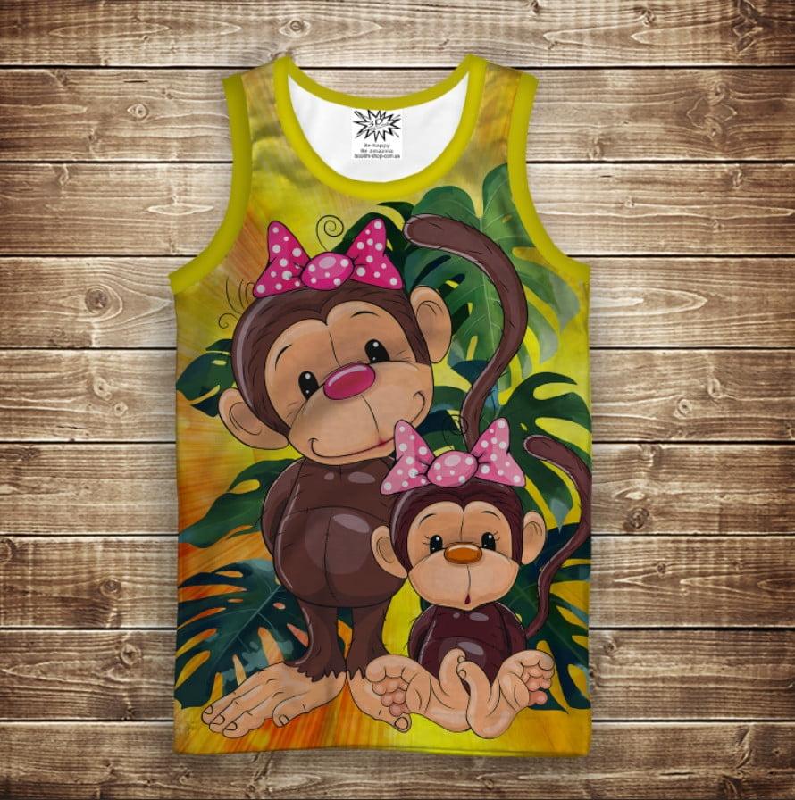 Майка с 3D принтом: Веселые обезьянки Желтый 1. Взрослые и детские размеры