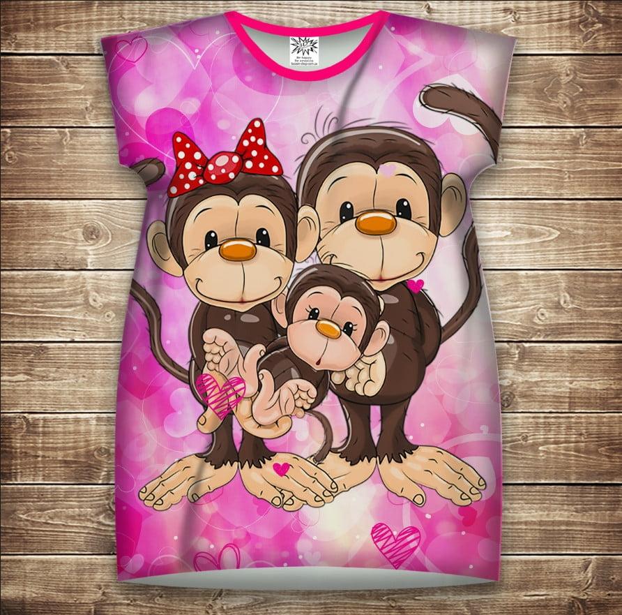 Платье-туника с 3D принтом: Веселые обезьянки Розовый 1. Взрослые и Детские размеры