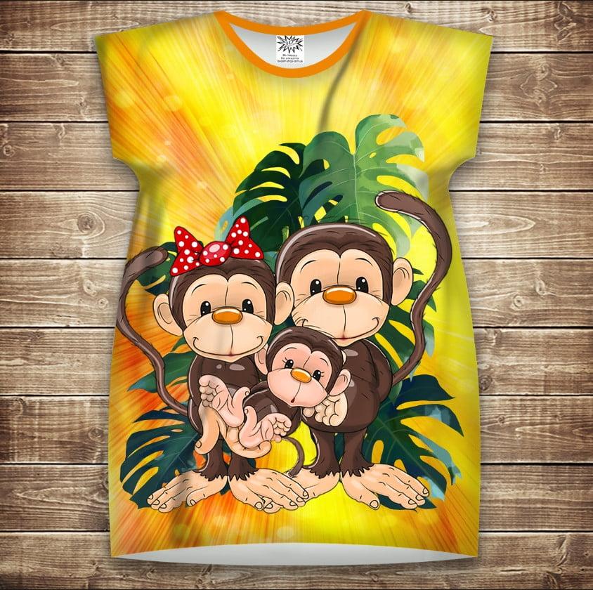 Платье-туника с 3D принтом: Веселые обезьянки Желтый 2. Взрослые и Детские размеры