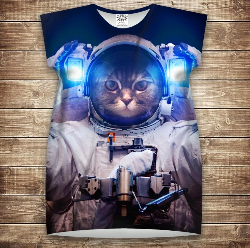 Платье-туника с 3D принтом: Кот в скафандре. Кот Космонавт. Взрослые и Детские размеры