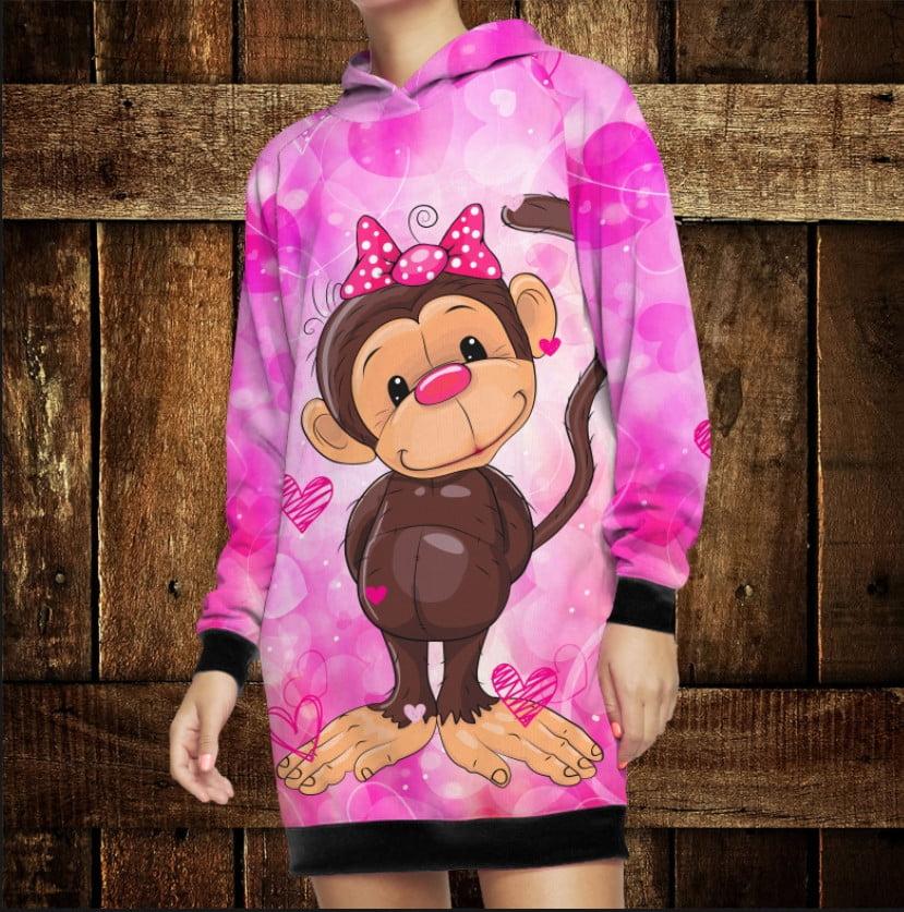 Платье-худи з капюшоном и 3D принтом: Веселые обезьянки Розовый 2. Взрослые и Детские размеры