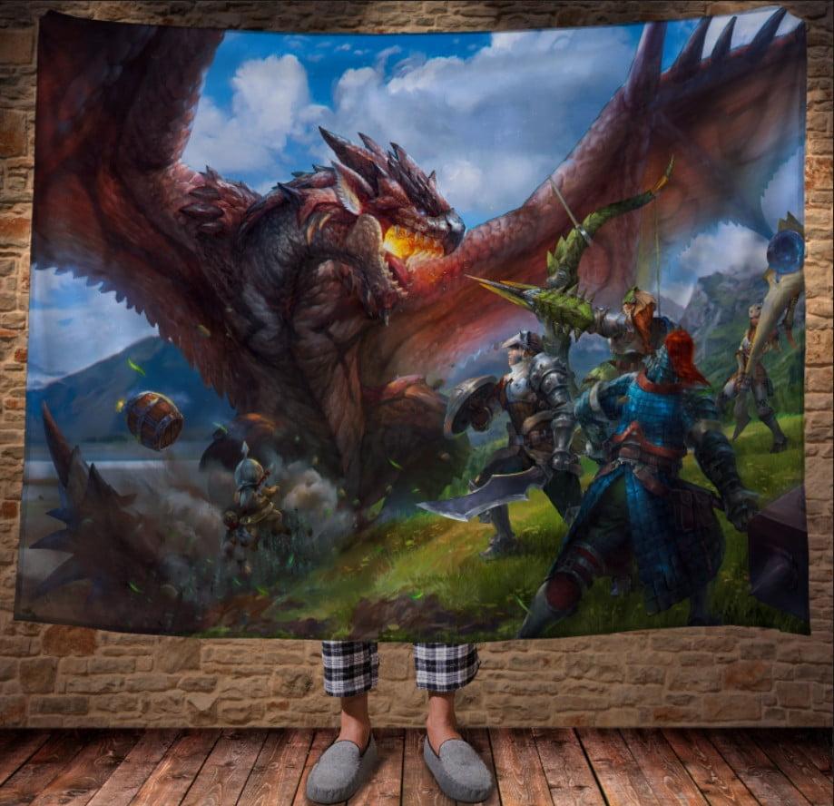 Плед с 3D принтом на тему: Охотник на монстров. Monster Hunter