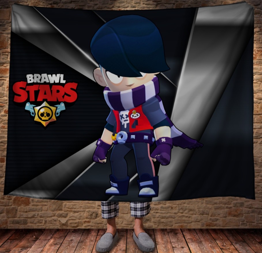 Плед с 3D принтом на тему: Эдгар Бравл Старс. Edgar