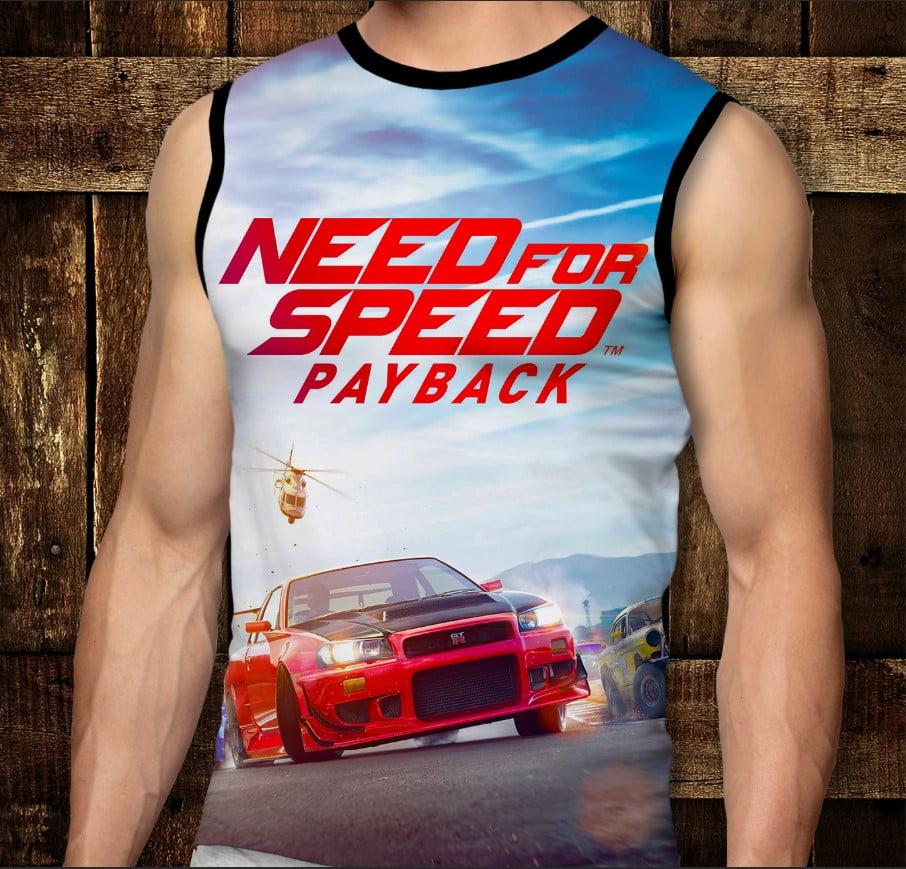 Футболка-безрукавка с 3D принтом: Need for Speed. Взрослые и Детские размеры