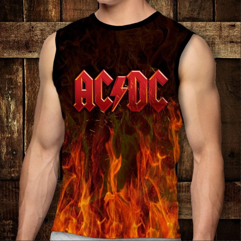 Футболка-безрукавка с 3D принтом: AC/DC. Fire. Взрослые и Детские размеры